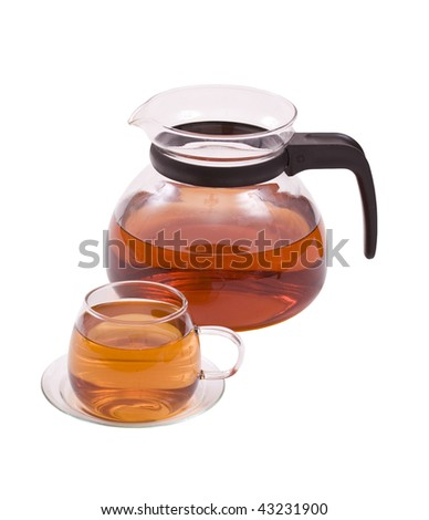 glass tea pot with cup isolated in white background