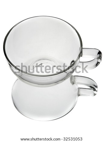 Glass teacup isolated on white.