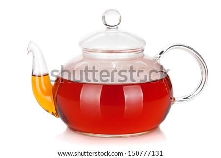 Glass teapot of black tea. Isolated on white background - stock photo