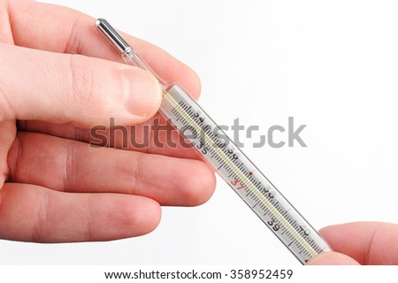 glass thermometer in hand on white background