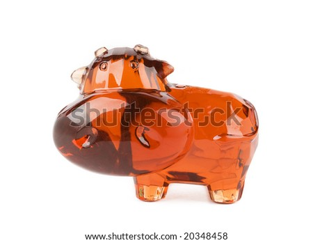 Glass toy isolated over white background
