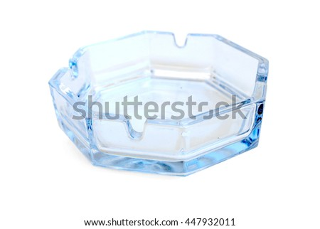 Glass Transparent Ashtray Isolated on White Background