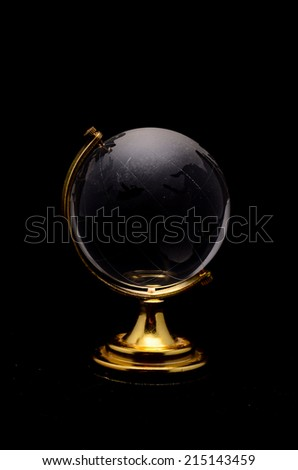 Glass Transparent Globe Earth on a Black Background