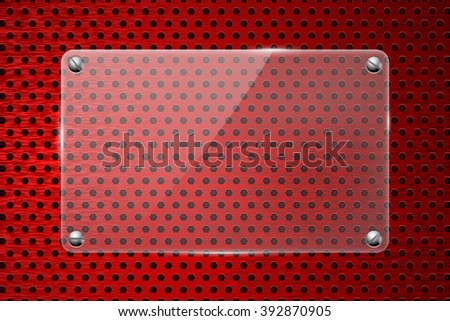 Glass transparent plate on red metal background.   illustration. Raster version - stock photo