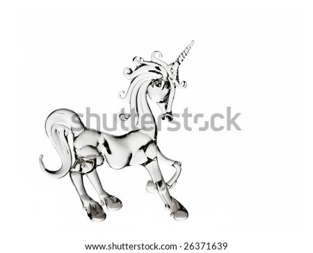 glass unicorn, symbol of purity, isolated - stock photo