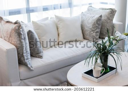 glass vase in modern white living room - stock photo