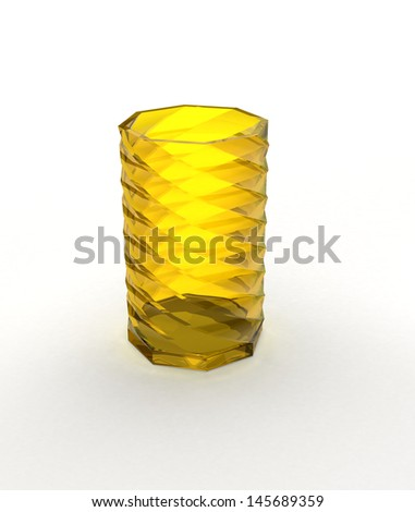 Glass vase with shadow on white - stock photo