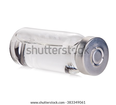 Glass vial medical close-up isolated on a white background. - stock photo
