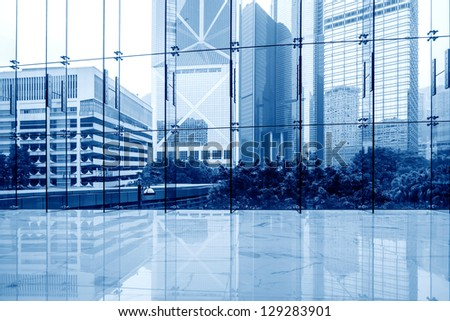 Glass wall in the office building - stock photo