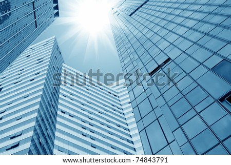 Glass wall of office buildings - stock photo