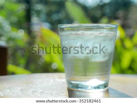 Glass water,Ice glass on green blur background.focus glass top.