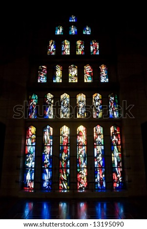 Glass windows in Good Tidings Church of Nazareth - stock photo
