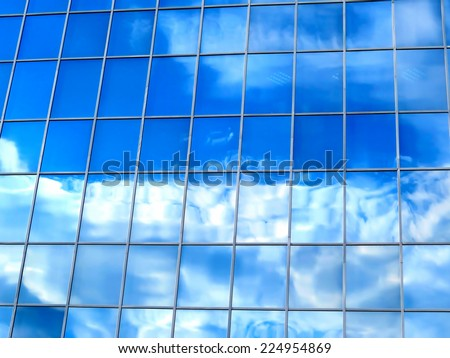 Glass Windows structure with Blue Sky reflection