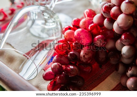 glass wine and grape - stock photo