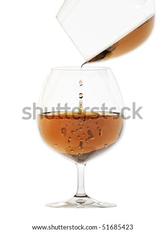 Glass with alcohol isolated on white background
