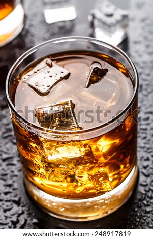 Glass with alcoholic drink