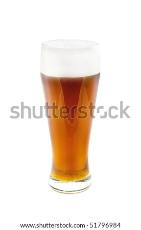 Glass with beer isolated on the white - stock photo