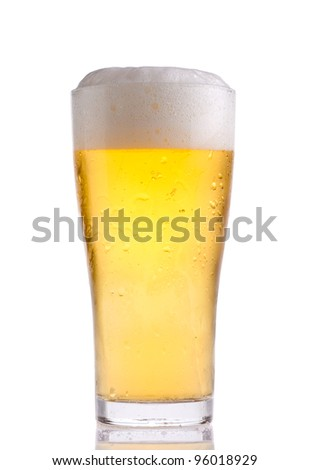 glass with beer on white background - stock photo