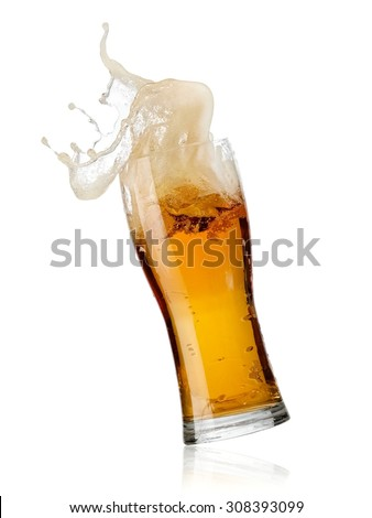 Glass with beer splash