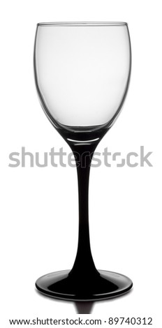 glass with black stem isolated on white