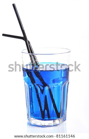 Glass with blue cocktail isolated on white - stock photo