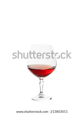 glass with brandy isolated on white background - stock photo