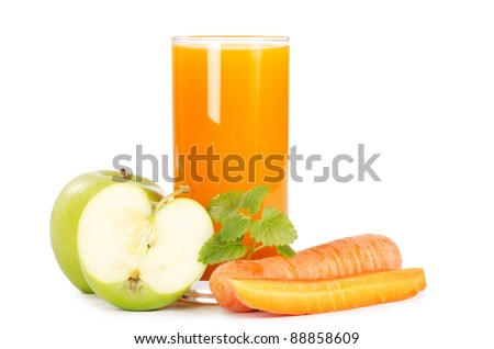Glass with carrot juice  isolated on white - stock photo