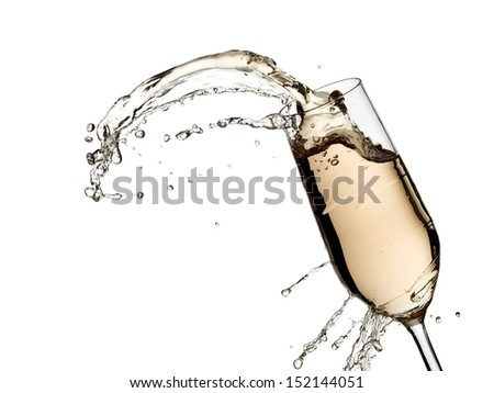 Glass with champagne splash