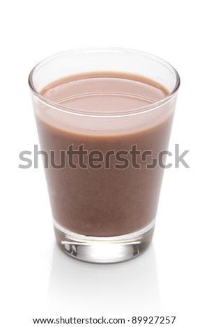 Glass with chocolate milk, over white, with clipping path - stock photo