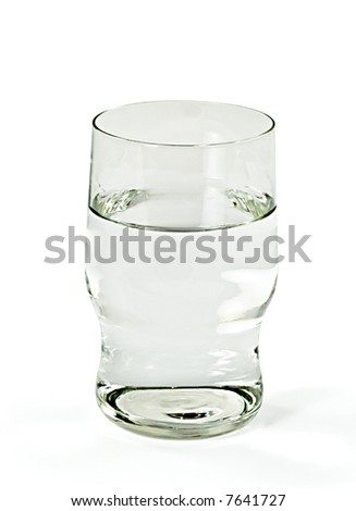 Glass with clean water. Isolated on white background