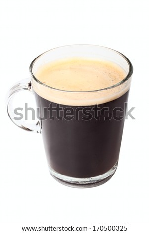Glass with coffee isolated on white background - stock photo