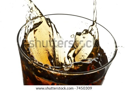 glass with cola and ice on the white background - stock photo