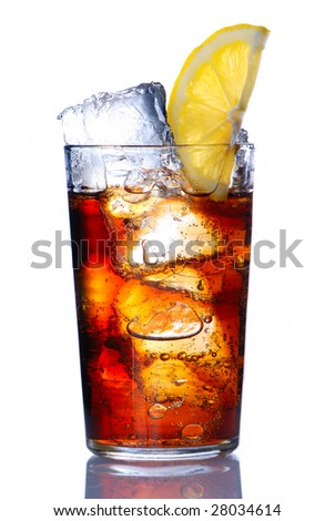 Glass with cola & lemon isolated on white - stock photo