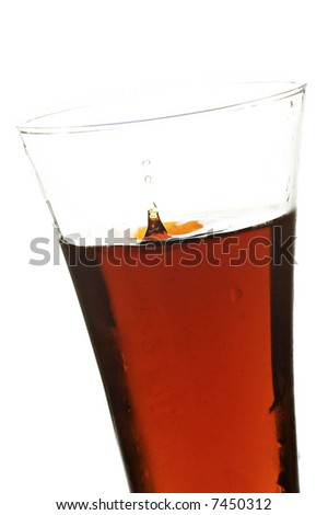 glass with cola on the white background - stock photo