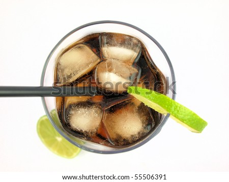 Glass with cola on white background - stock photo