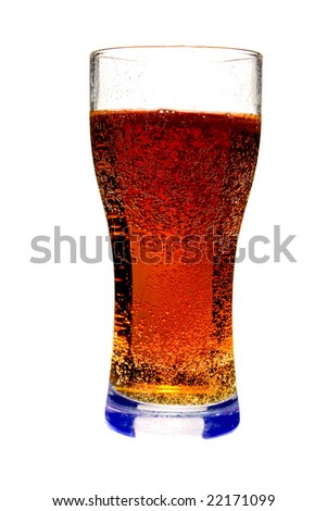 Glass with cola on white ground - stock photo