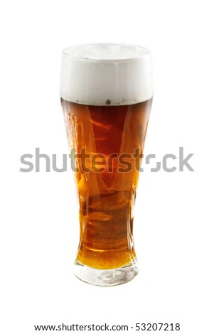 Glass with cold beer isolated on the white - stock photo