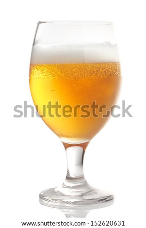 glass with cold, golden beer. isolated on white