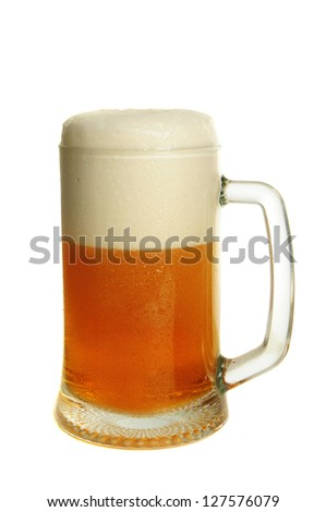 Glass with dark beer isolated on the white - stock photo