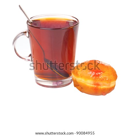 Glass with donut isolated on white background