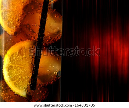 glass with drink coke ice and lemons - stock photo