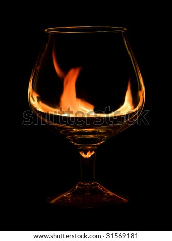glass with fire flames - stock photo