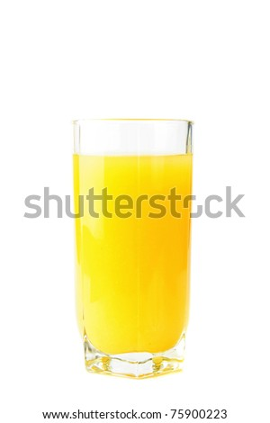 Glass with fresh pineapple juice on white - stock photo