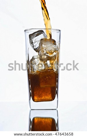 glass with ice and cola