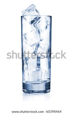 Glass with ice cubes. Isolated on white - stock photo