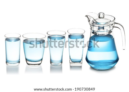 Glass with jar full of water collection on isolated background. - stock photo