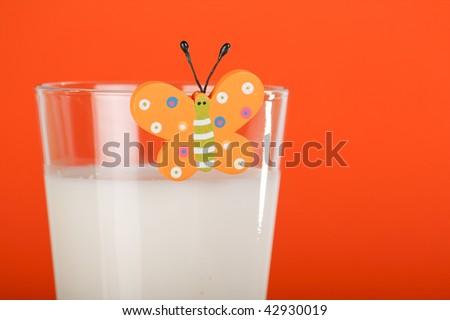 Glass with milk - stock photo