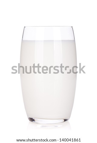 Glass with milk. Isolated on white background - stock photo