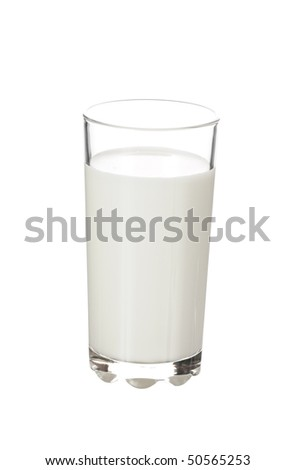 glass with milk isolated on white background