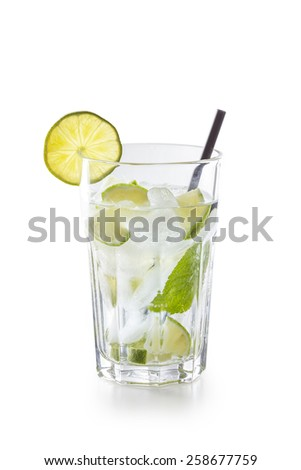 Glass with Mojito Cocktail isolated on white background - stock photo